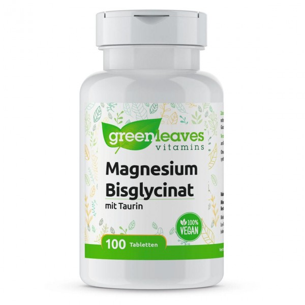 Magnesium Bisglycinat 100mg Magnesium, mit 200mg Taurin, 100 Tabletten